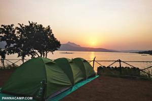 sunset time photo at iland pawna camping