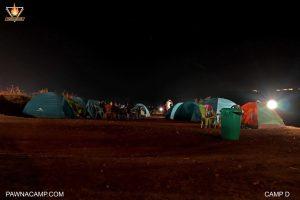 Night time photo at camp D of pawnacamp