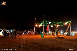 Night time photo of open space on camp D